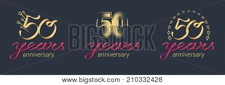 50 years anniversary vector icon logo set. Graphic design element with lettering and red ribbon for celebration of 50th anniversary