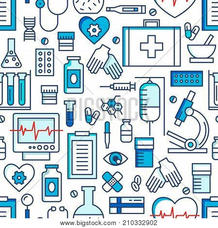 Medical icons vector seamless pattern. Health care sign collection. Medicine equipment silhouette illustration. Ambulance symbols