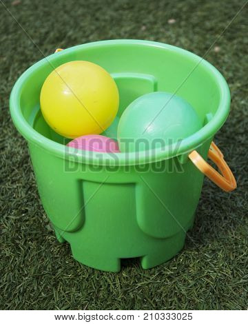 Different colors plastic balls for children playing