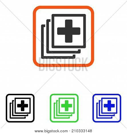 Medical Docs icon. Flat grey iconic symbol inside an orange rounded rectangular frame. Black, green, blue color additional versions of Medical Docs vector. Designed for web and application interfaces.