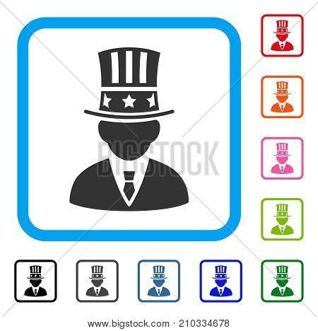 American Capitalist icon. Flat grey iconic symbol in a light blue rounded frame. Black, gray, green, blue, red, orange color additional versions of American Capitalist vector.