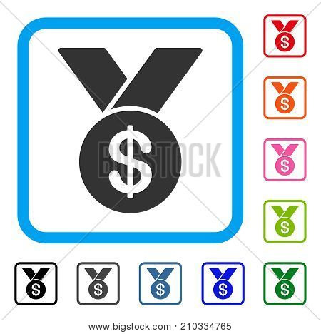 Bestseller Medal icon. Flat grey pictogram symbol inside a light blue rounded square. Black, gray, green, blue, red, orange color additional versions of Bestseller Medal vector.