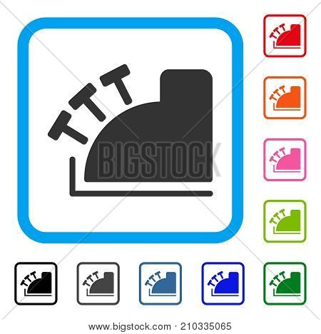 Cash Register icon. Flat gray iconic symbol in a light blue rounded frame. Black, gray, green, blue, red, orange color versions of Cash Register vector. Designed for web and software user interface.