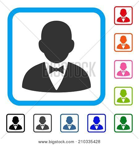 Gentleman icon. Flat gray pictogram symbol in a light blue rounded square. Black, gray, green, blue, red, orange color versions of Gentleman vector. Designed for web and application user interface.