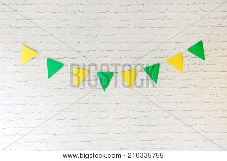 decor for the holiday birthday. yellow flags. for smash the cake
