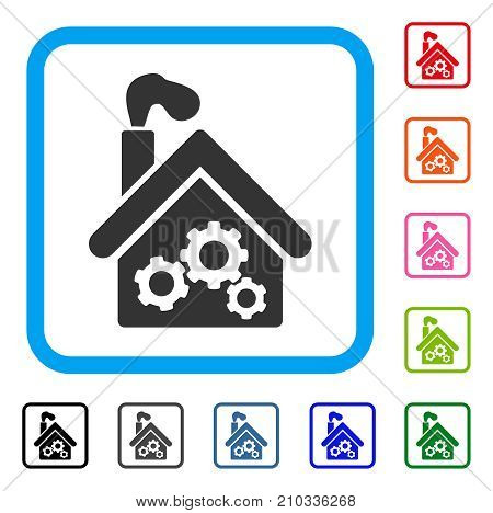 Smoking Garage Factory icon. Flat grey iconic symbol inside a light blue rounded squared frame. Black, gray, green, blue, red, orange color additional versions of Smoking Garage Factory vector.