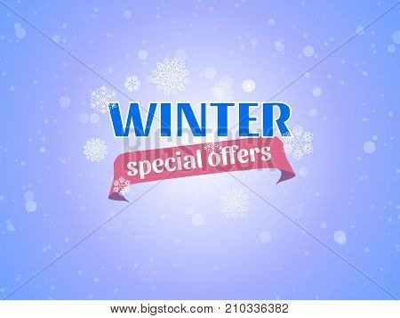 Winter special offers vector banner with snow flakes on blue background