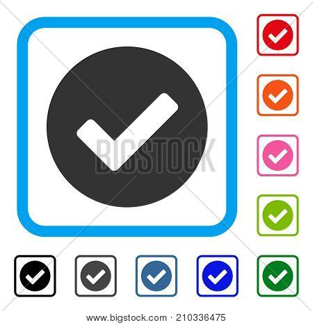 Yes icon. Flat gray iconic symbol in a light blue rounded frame. Black, gray, green, blue, red, orange color additional versions of Yes vector. Designed for web and software user interface.