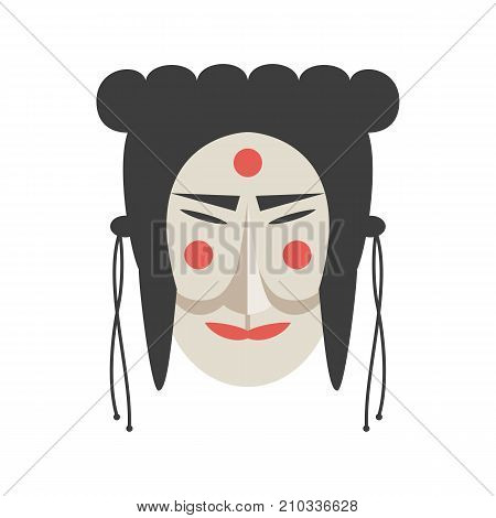 Traditional mask icon on the white background. Vector illustration.
