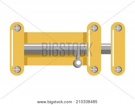 Bright metal lock with yellow corpus that holds on screws and shiny latch isolated cartoon flat vector illustration on white background. Simple mechanism to keep door closed without extra safety.