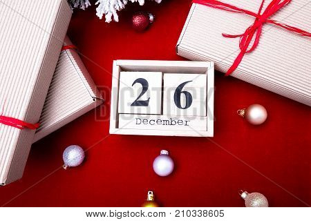 Boxing Day Sale. Calendar With Date On Red Background. Christmas Concept. December 26. Christmas Bal