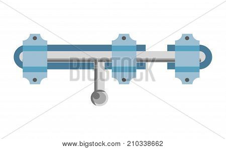 Shiny metal latch with handle to move it and blue loops that holds on nails isolated cartoon flat vector illustration on white background. Simple lock to keep door closed with low level of security.