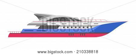Yacht speedboat or motorboat sailing ship and cruise liner. Vector ocean travel vessel or seafarer flat isolated icon for yacht club and sea marine transport