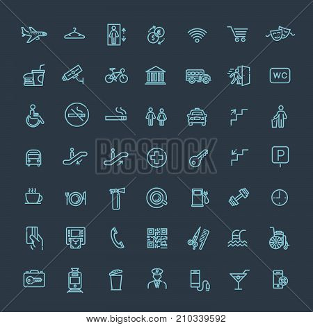 Public place navigation vector icons. Toilet, restaurant and elevator pictograms.