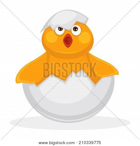 Adorable newborn chicken in egg shell with piece on head and open red beak isolated cartoon flat vector illustration on white background. Cute baby bird with yellow plumage and plump cheeks.