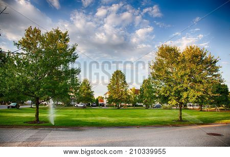 September 4 2016 Medford New Jersey: The common area park in the Village Pointe subdivision in Medford New Jersey.