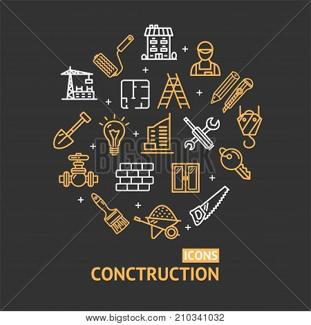 Building Construction Elements and Tools Color Round Design Template Line Icon Concept Include of Home, Helmet and Brick. Vector illustration