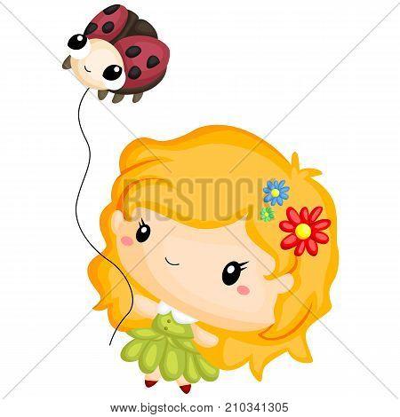 a green fairy with a ladybug balloon