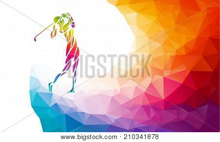 Golf Sport Silhouette of Golfer Girl finished hitting Tee-shot on rainbow polygonal background