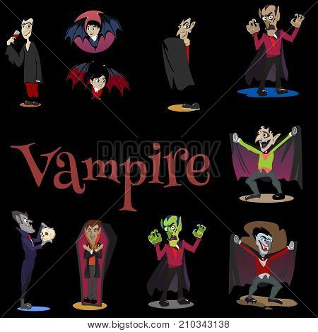 Halloween backgrounds sat with vampire and their castle under the full moon and cemetery, Dracula with fangs teeth, monster in a coffin flat vector illustrations, good for party invitation or flyer, greeting card, trick or treat decoration
