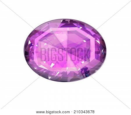 Insulated oval pink gemstone on white background