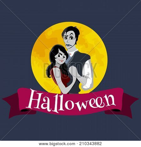 halloween gothic party with vampire couple, fun background for horror invitation on vamp cosplay, dracula teeth and fangs on vector flyer, white man and woman nightlife poster or banner illustration. poster