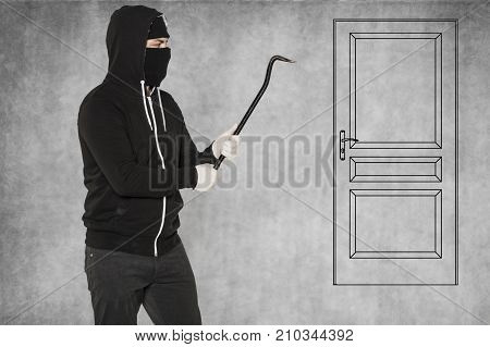 Such A Door Is Easy For A Thief, Crowbar In Hands