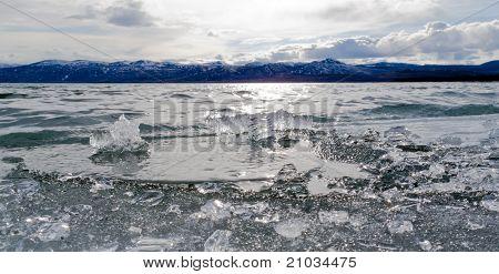 Ice-Break at Lake Laberge, Yukon Territory, Canada