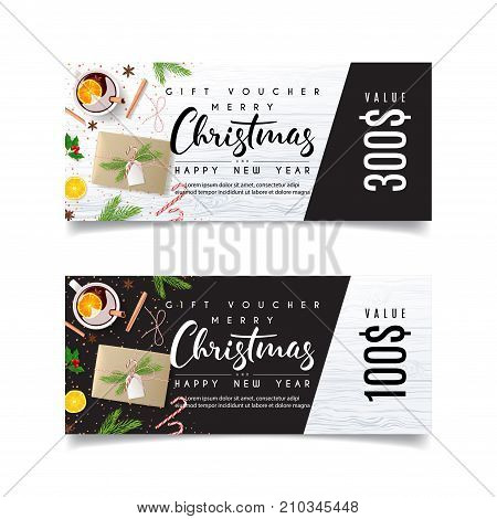 Christmas Gift Voucher Template. Beautiful Greeting Card with Seasonal Offer. Design of coupon usable for invitation and ticket. Vector Illustration with Festive Decoration.