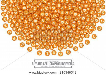 Buy and Sell Most Important Main Cryptocurrencies Vector Conceptual 3D Illustration on White Background. Icon Bitcoin, Bytecoin, Dash, Ethereum, Litecoin, Monero, Nem, Ripple, Stratis Zcash