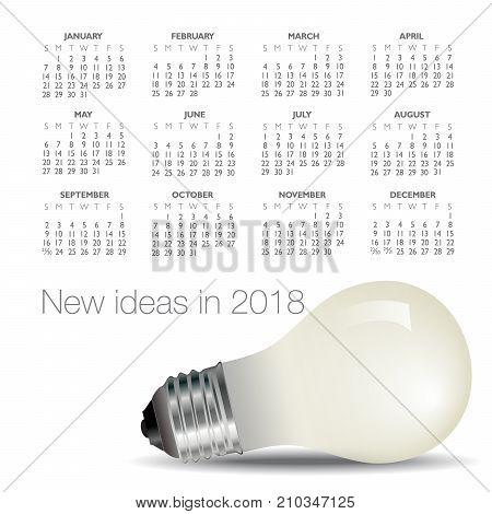 2018 idea and light bulb calendar for print or web