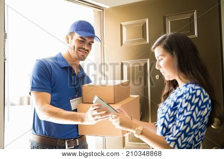 Delivery Man Using Technology