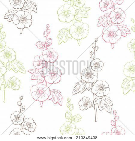 Mallow flower graphic color sketch seamless pattern illustration vector