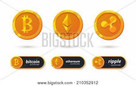Cryptocurrency banking payment accepted here. Bitcoin, ethereum, ripple accepted here sticker. Pay for e-business coin. Electronic crypto system - icons set. Button to your app design and websites.