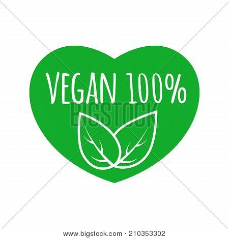 Vegan food sign with leaves in heart shape design. Vegan vector logo. Eco green logo. Raw, healthy food badge.