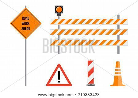 Road works signs set flat vector illustration. Work road ahead orange warning sign, striped warning posts, barricade traffic cone. Traffic caution warning signs concept. Road works, caution signs. Set of road work signs.