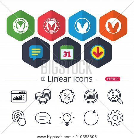Calendar, Speech bubble and Download signs. No animals testing icons. Non-human experiments signs symbols. Chat, Report graph line icons. More linear signs. Editable stroke. Vector