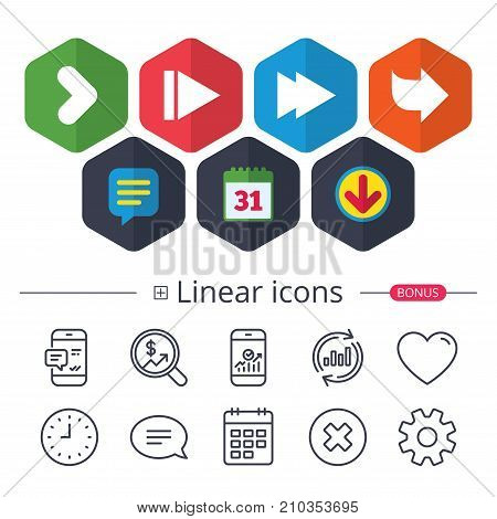 Calendar, Speech bubble and Download signs. Arrow icons. Next navigation arrowhead signs. Direction symbols. Chat, Report graph line icons. More linear signs. Editable stroke. Vector