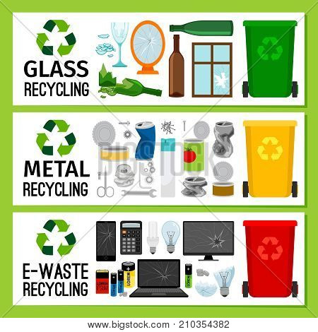 Banners with glass metal e-waste trash, garbage separation vector illustration
