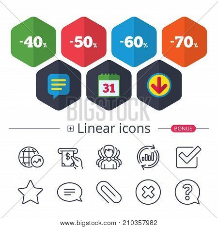 Calendar, Speech bubble and Download signs. Sale discount icons. Special offer price signs. 40, 50, 60 and 70 percent off reduction symbols. Chat, Report graph line icons. More linear signs. Vector