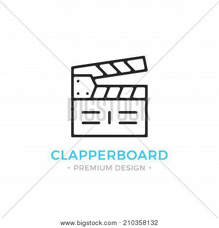 Clapperboard line icon. Black clapboard, clapper. Cinema, filmmaking, video production concepts. Black vector clapperboard icon isolated on white background