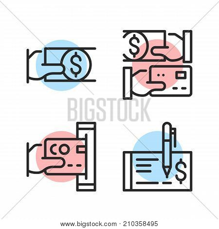 Payment methods. Pay cash, pay with credit card, pay by check, cash back. Modern vector line icons set isolated on white background