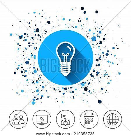 Button on circles background. Light bulb icon. Lamp E14 screw socket symbol. Illumination sign. Calendar line icon. And more line signs. Random circles. Editable stroke. Vector