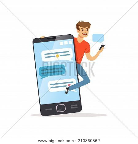 Young men standing near giant smartphone, phone addiction, addicted to social networking, bad habit vector Illustration on a white background