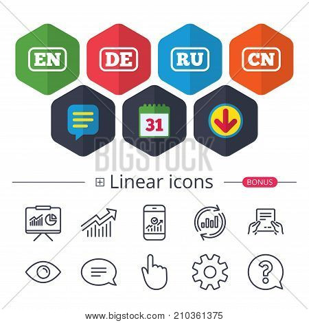 Calendar, Speech bubble and Download signs. Language icons. EN, DE, RU and CN translation symbols. English, German, Russian and Chinese languages. Chat, Report graph line icons. More linear signs