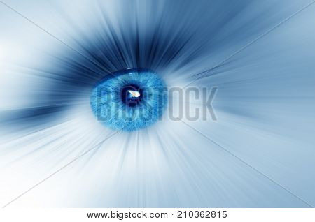 Beautiful blue eye with diverge rays in all directions abstract dreamy artistic image. Macro