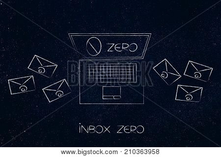 Inbox Zero Laptop With Number On The Screen And Envelopes Around It