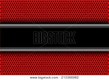 Abstract black banner overlap on red circle mesh design modern luxury background vector illustration.
