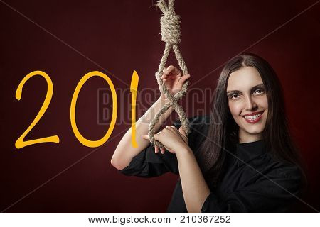 fun woman show noose with 2018 new year digits