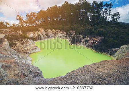 Devil's Cave Pool In Wai-o-tapu, Rotorua.